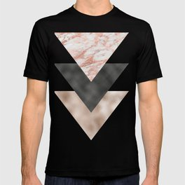 Textured marble and rose gold triangles T-shirt