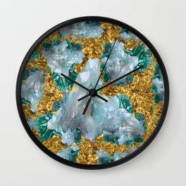 WHITE QUARTZ  CRYSTALS & BLUE-GREEN AQUAMARINE Wall Clock