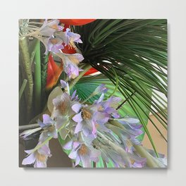 Exotic Floral in Lilac Colors and Lush Leaves Metal Print