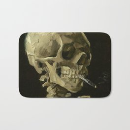 SKULL OF A SKELETON WITH BURNING CIGARETTE - VINCENT VAN GOGH Bath Mat
