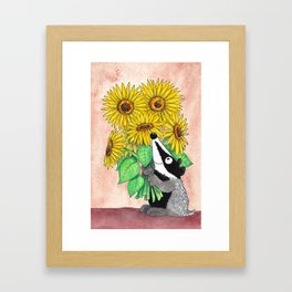 Badger with sunflowers greeting card by Nicole Janes Framed Art Print
