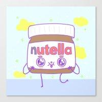 nutella Canvas Prints featuring Nutella by grecia colunga