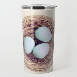 Birds Nest Photography, Robins Egg Nest, Spring Photography, Three Babies Travel Mug