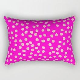 Modern rose gold glitter polka dots neon pink attern Rectangular Pillow