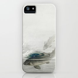 Two Kois In Lake Vintage Illustration iPhone Case