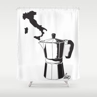 italian Shower Curtains featuring Italian coffee by LuiSegni
