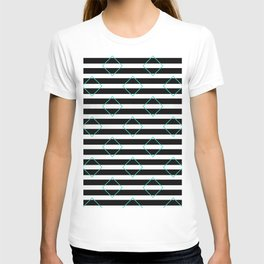 Black and White Stripes And Cyan Blue Squares Pattern T-shirt