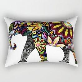 Aztec Elephant White Rectangular Pillow