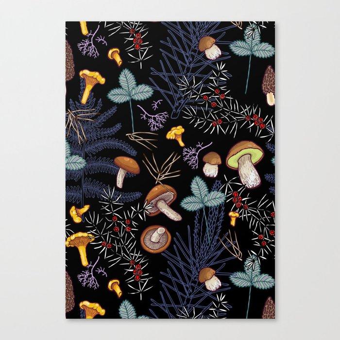 dark wild forest mushrooms Leinwanddruck