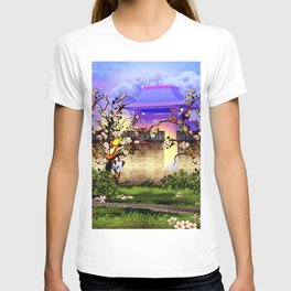 Cherry tree blossom in front of the temple T-shirt