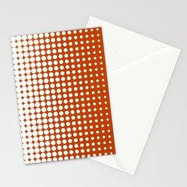 Cool modern techno shrinking polka dots white on mahogany Stationery Cards