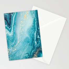 Azure, teal, aqua and gold marble texture Stationery Cards