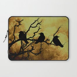 Crows on Branch Against Stormy Sky A522 Laptop Sleeve