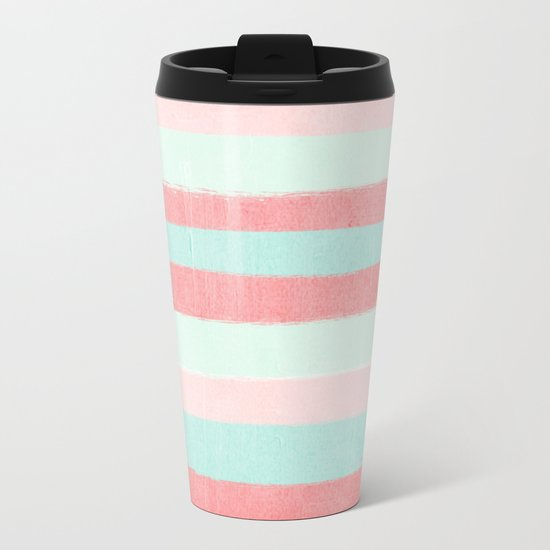 Painterly Stripes abstract trendy colors gender neutral seaside coral tropical minimal Metal Travel Mug