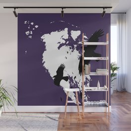 Odin Portrait and Silhouette of Ravens Vector Art Wall Mural