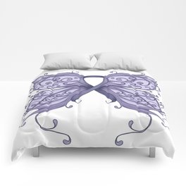 Periwinkle Cancer Ribbon with Butterfly Wings Comforters