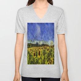 Summer Sunflowers Van Gogh Unisex V-Neck