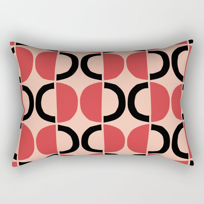 Mid Century Modern Half Circle Pattern 532 Pink Red and Black Rectangular Pillow