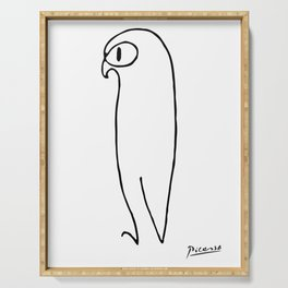 Pablo Picasso The Owl Artwork T Shirt, Reproduction Sketch, tshirt, tee, jersey, poster, artwork Serving Tray