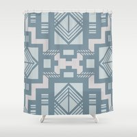 gatsby Shower Curtains featuring gatsby blue by Kozza
