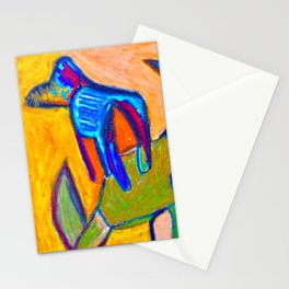 Cave Dog on Orange Wall Stationery Cards