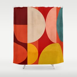 shapes of red mid century art Shower Curtain