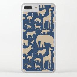 African Fauna // Khaki & Navy Clear iPhone Case