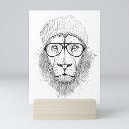 Cool lion (bw) Mini Art Print