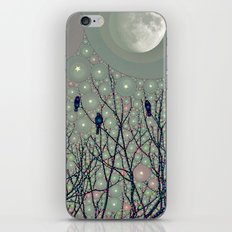 A Dawning with black birds lights on bare branches stars and gibbous moon  iPhone & iPod Skin