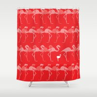 flamingos Shower Curtains featuring Flamingos by Dana Martin