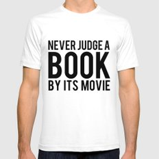 Never Judge A Book By Its Movie SMALL White Mens Fitted Tee