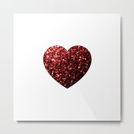 Red Glitter sparkles Heart on white Metal Print