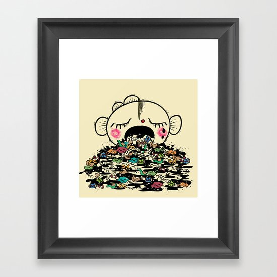 Save the fishes Framed Art Print
