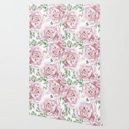 Girly Pastel Pink Roses Garden Wallpaper