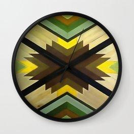 Navaho Vibes Geometric Pattern - Black Brown Yellow Wall Clock