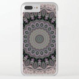 Gray mandala 4 Clear iPhone Case