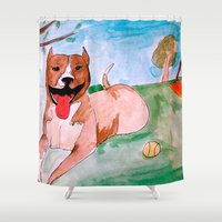 pit bull Shower Curtains featuring Pit Bull by Caballos of Colour