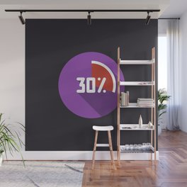 """Print illustration """"percentage - 30%"""" with long shadow in new modern flat design Wall Mural"""