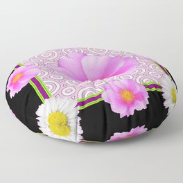 Modern Art Style Shasta Daisy Pink Roses  Black Color Abstract art Floor Pillow