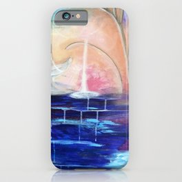 Flourescent Waterfall Painting. Waterfall, Abstract, Blue, Pink. Water. Jodilynpaintings. iPhone Case