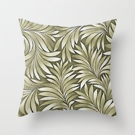 Stylized Leaves Agave Green Palette Throw Pillow