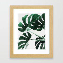 Monstera, Leaves, Plant, Green, Scandinavian, Minimal, Modern, Wall art Gerahmter Kunstdruck