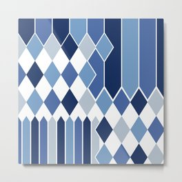 STRIPED DIAMONDS: NAVY Metal Print