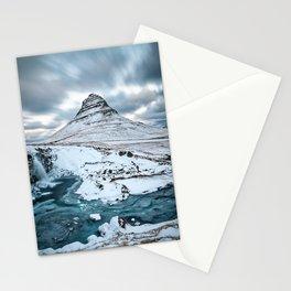 KIRKJUFELL MOUNTAIN & WATERFALL IN WINTER ICELAND LANDSCAPE Stationery Cards