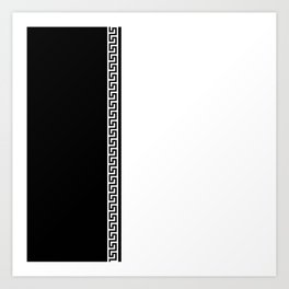 Greek Key 2 - White and Black Art Print