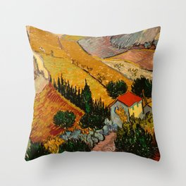 Landscape with House and Ploughman Throw Pillow