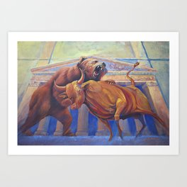 Bear vs Bull Art Print