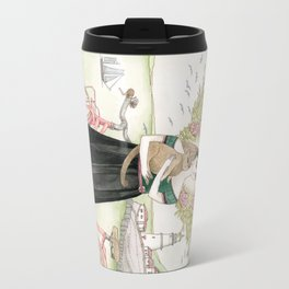 Girl and cat with pink bicycle Travel Mug