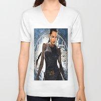 lara croft V-neck T-shirts featuring Angelina Jolie as Lara Croft by Brian Raggatt