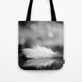 White Feather In Black And White Bokeh Background #decor #society6 #buyart Tote Bag